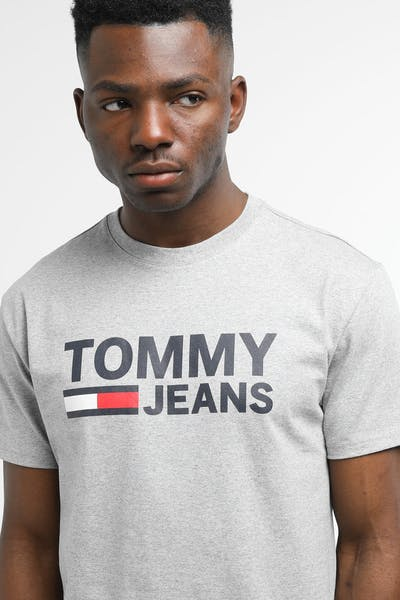 Tommy Jeans TJM Tommy Classics Logo Tee Light Grey Heather