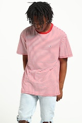 TOMMY JEANS TJM TOMMY CLASSICS STRIPE TEE DEEP RED