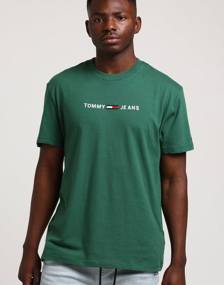 64b350c9 Tommy Jeans TMJ Small Text Tee Dark Green – Culture Kings