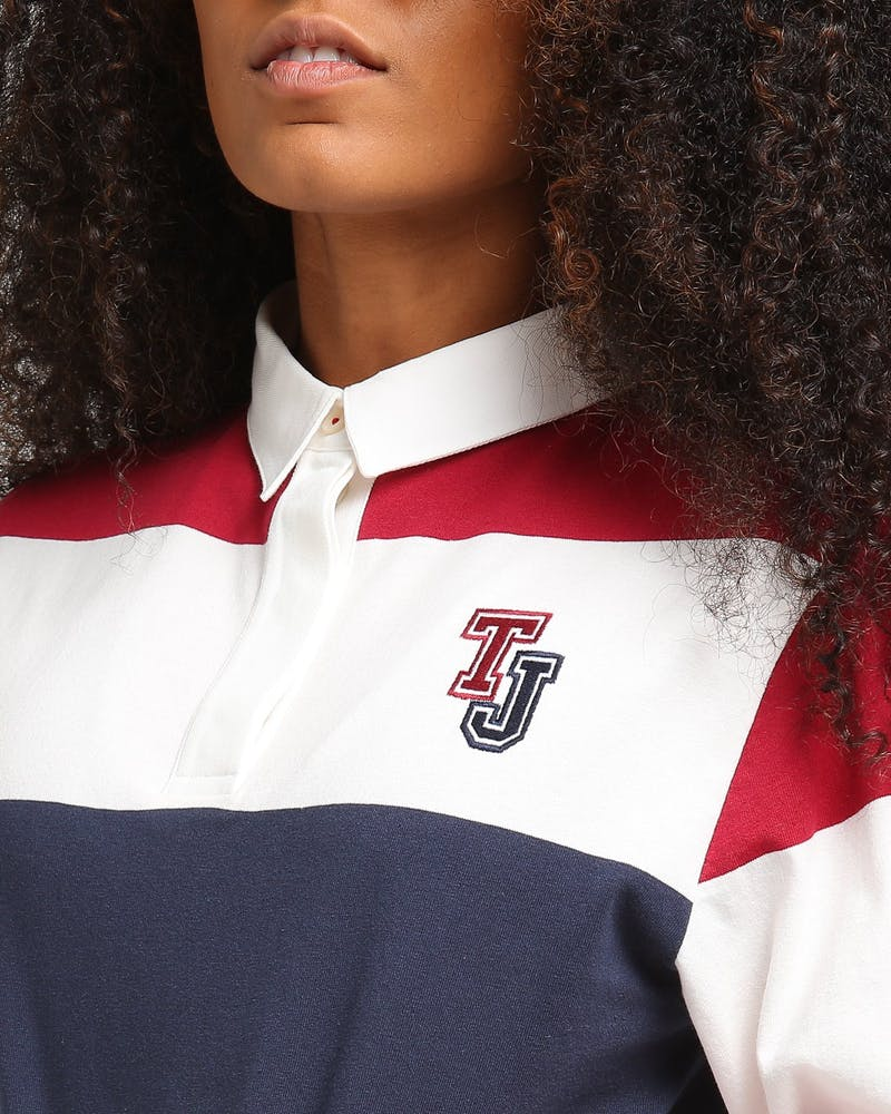 Tommy Jeans Women's TJW Cropped Rugby Polo Maroon/Multi