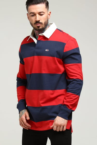 44261921 Tommy Jeans TJ Tommy Classics Rugby Shirt Black Iris/Deep