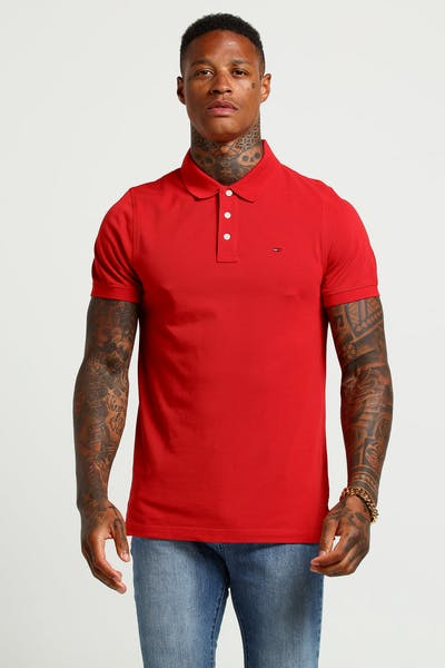 Tommy Jeans TJM Essential Polo S/S Samba Red