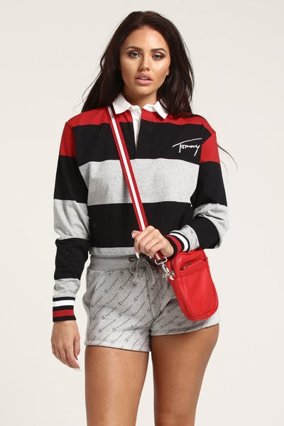 d6d259b31ec0b Tommy Jeans Women s TJW Crop L S Polo Red Multi-Coloured