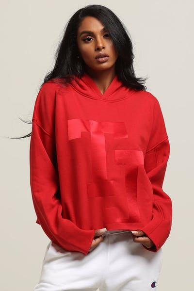 bdd5c31acf3b6 Tommy Jeans Women s TJ Raw Hem Dem Detail Hoodie Red