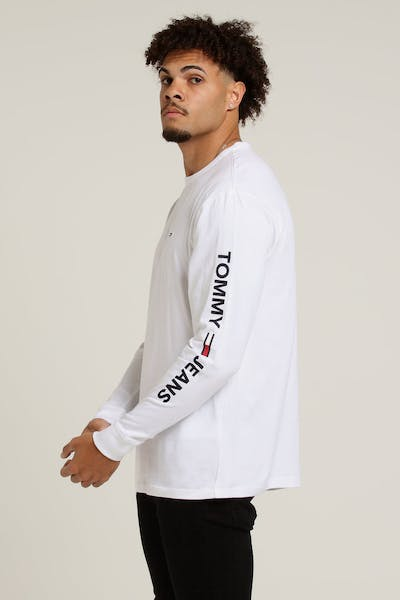 Tommy Jeans TJM Essential LS Logo Tee Tommy White