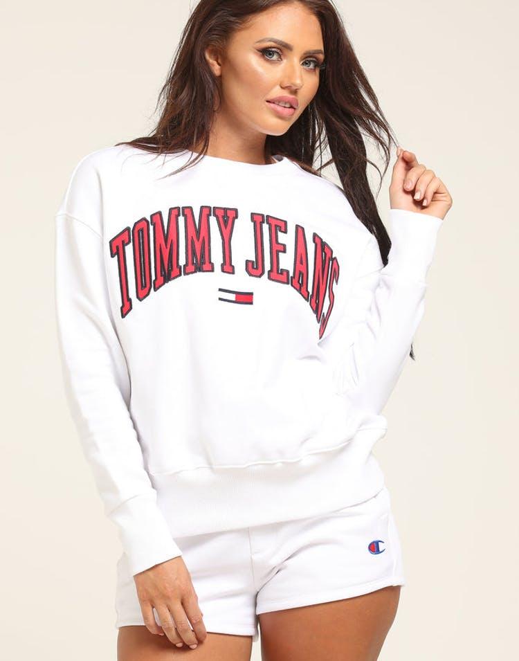 b5e90081011104 Tommy Jeans Women s TJW Tommy Classics Logo Crew White – Culture Kings