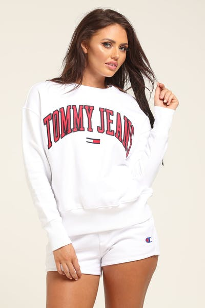 45d0649df43 Tommy Jeans Women s TJW Tommy Classics Logo Crew White