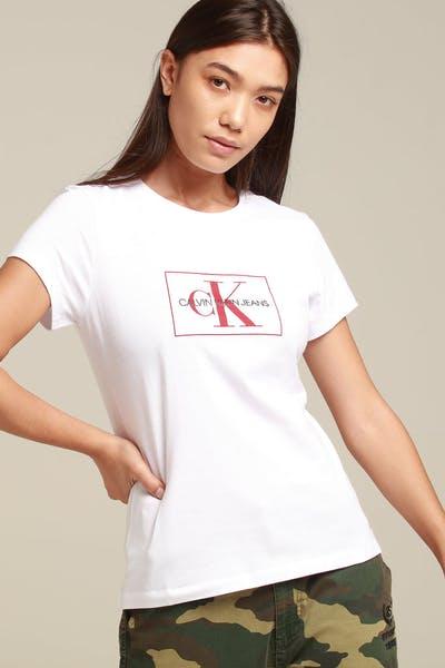 52cf77c13f27e Calvin Klein Women s Outline Monogram Slim Fit White Red