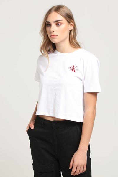 Calvin Klein Women's Monogram Embroidered Crop Tee White