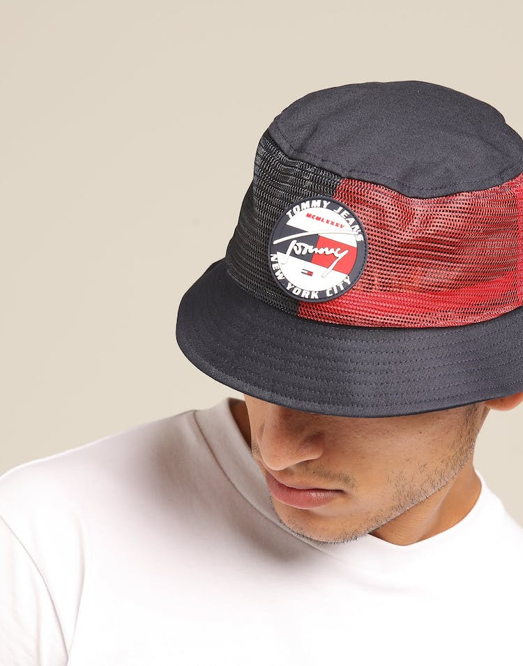 Tommy Jeans TJM Heritage Bucket Hat Navy/Red
