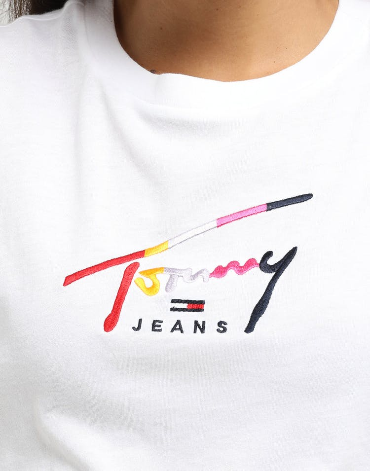 Tommy Jeans Women's TJW Cropped Tommy Script Tee Classic White