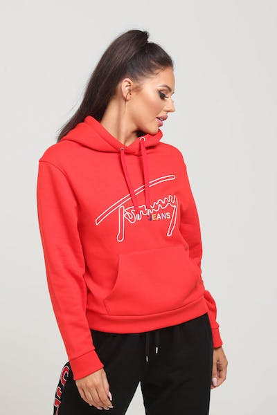 ef06d184 Tommy Jeans Women's TJW Tommy Signature Hoodie Scarlet. Tommy jeans logo
