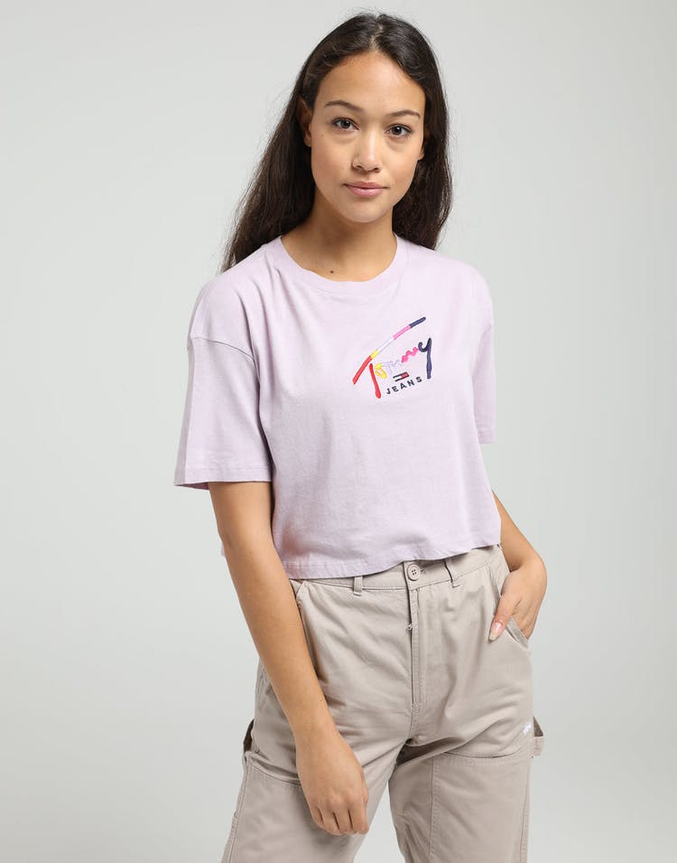 Tommy Jeans Women's TJW Cropped Tommy Script Tee Classic Lilac