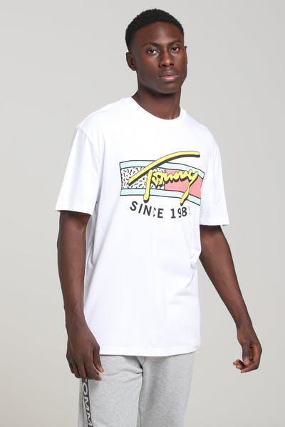 dc40d7a0 Tommy Jeans TJM Neon Script Tee Classic White. Tommy jeans logo