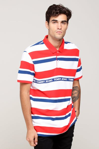 Tommy Jeans TJM Multi Stripe Polo Scarlet/Multi