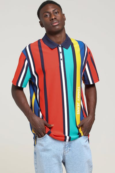 Tommy Jeans TJM Vertical Stripe Polo Scarlet/Multi