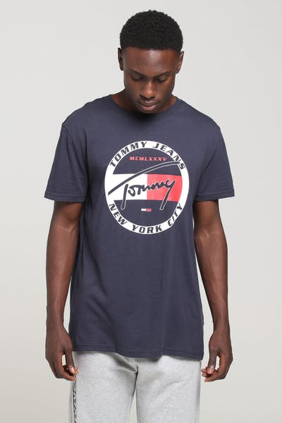 e1763633 Tommy Jeans TJM Circle Graphic Tee Black Iris · Tommy jeans logo
