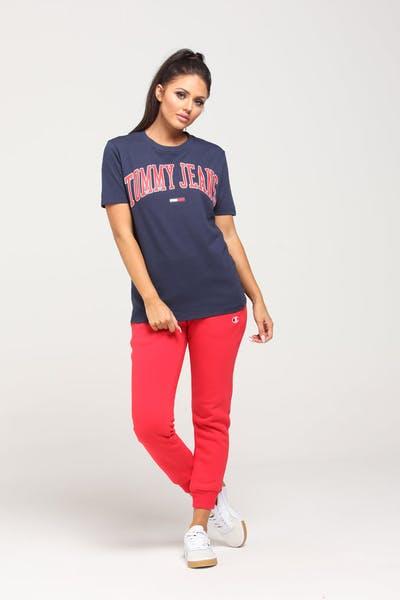 af626ba65 Tommy Jeans Women's TJW Collegiate Tee Black Iris. Tommy jeans logo