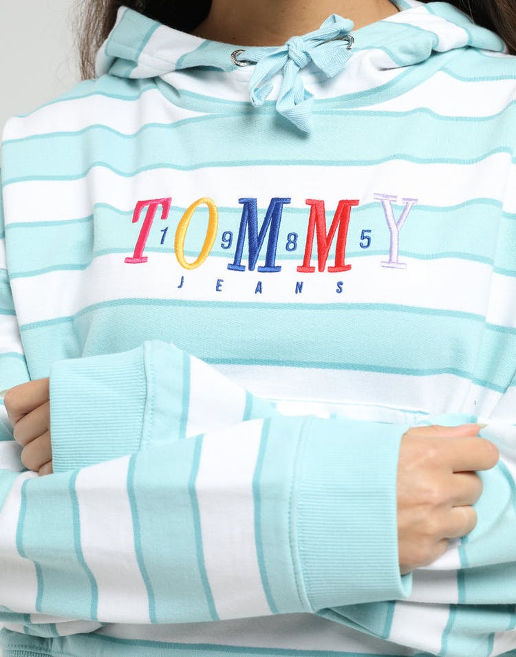 TOMMY JEANS WOMEN'S STRIPE GRAPHIC HOODIE BLUE/WHITE
