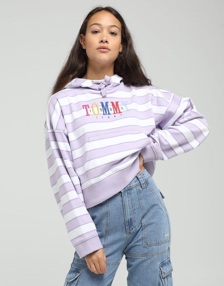 Tommy Jeans Women's TJW Stripe Graphic Hoodie Lilac/White