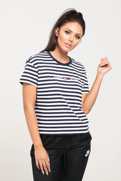 64bb988cbe3 Tommy Jeans Women s TJW Stripe Corp Logo Tee Navy White