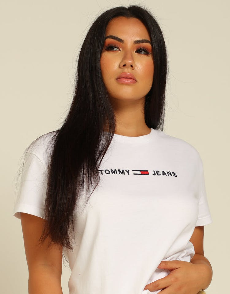 Tommy Jeans Women's Clean Linear Logo Tee Classic White