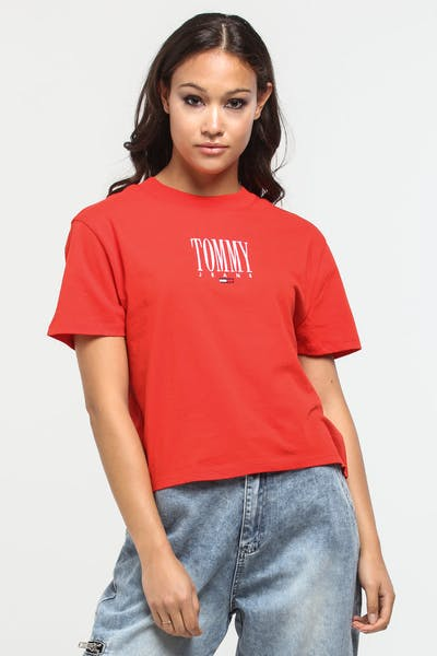 Tommy Jeans Women's TJW Embroidery Graphic Tee Flame Scarlet