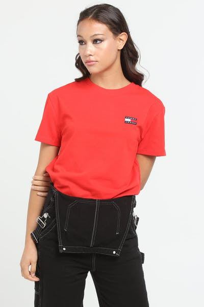 Tommy Jeans Women's TJW Tommy Badge Tee Flame Scarlet