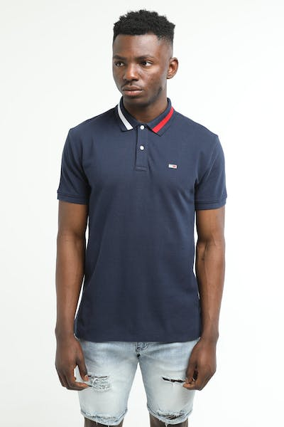 Tommy Jeans TJM Flag Neck Polo Black Iris