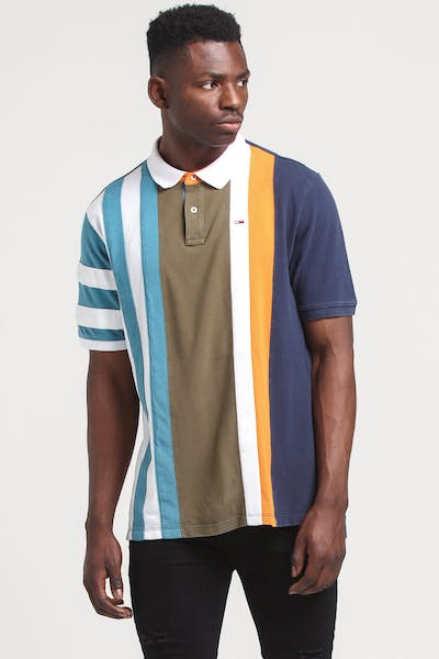 Tommy Jeans TJM Vertical Stripe Polo Black Iris/Multi