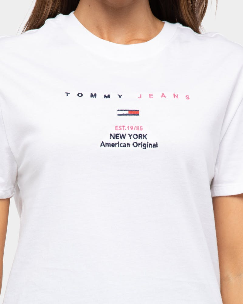 Tommy Jeans Women's TJW Linear Small Logo Text Tee Classic White
