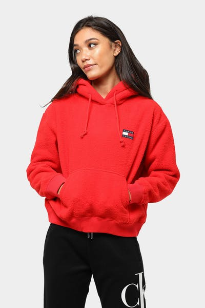 Tommy Jeans Women's TJW Tommy Polar Fleece Hoodie Red