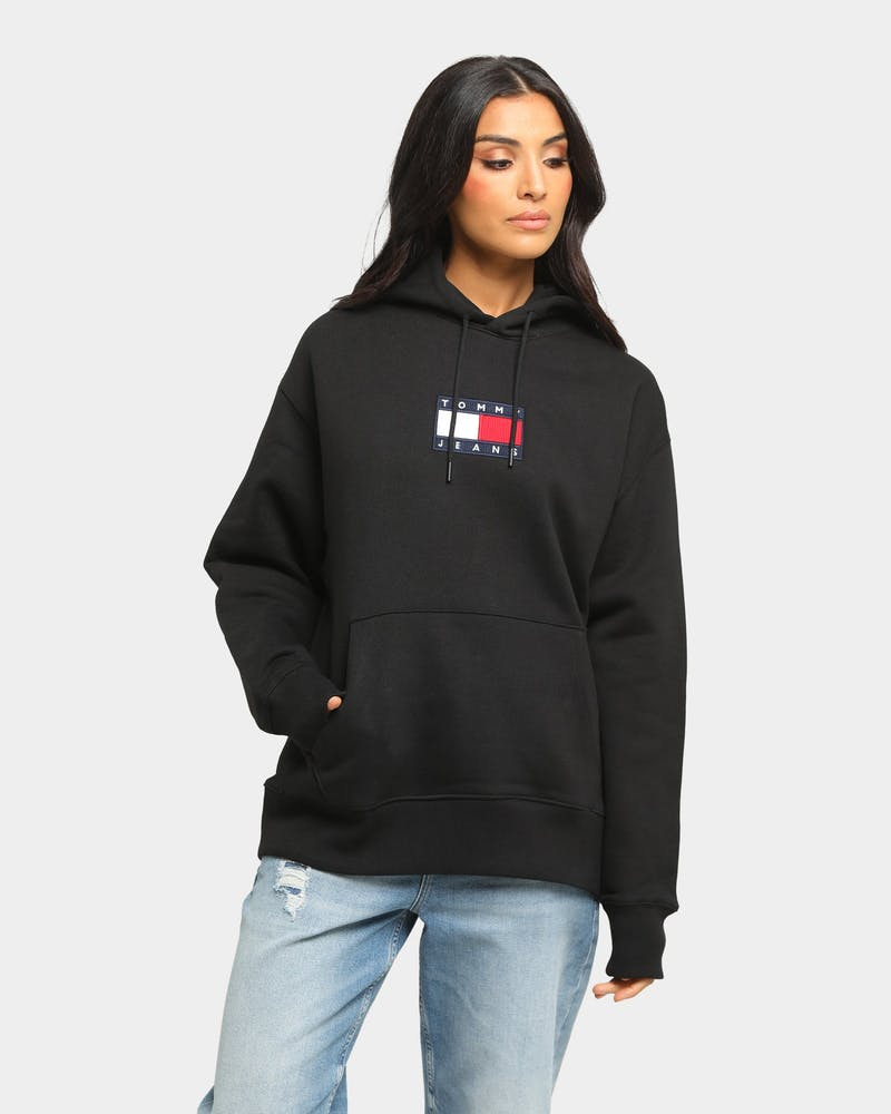 Tommy Jeans Small Flag Hoodie Black