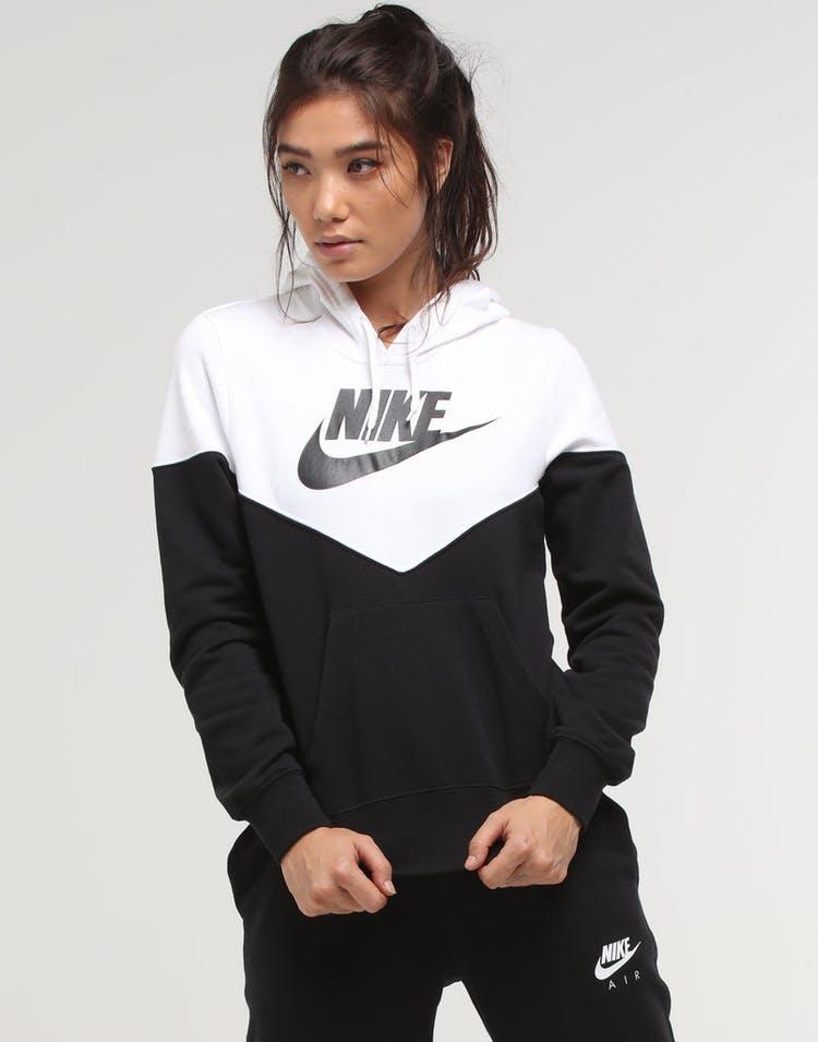 659b0af69 Nike Women's NSW Heritage Fleece Hoodie Black/White/Black – Culture ...