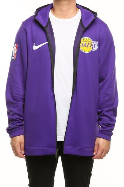5cc212dbddac Los Angeles Lakers Nike Therma Flex Showtime Hood Purple Black White