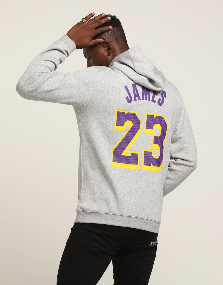 5cce8bb56 Nike Los Angeles Lakers LeBron James  23 Hood Dark Grey Heather ...
