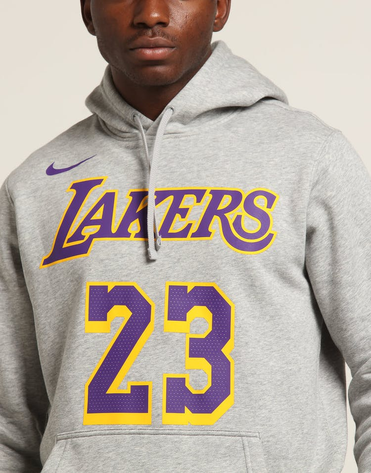online store ec32b 94543 Nike Los Angeles Lakers LeBron James #23 Hood Dark Grey Heather