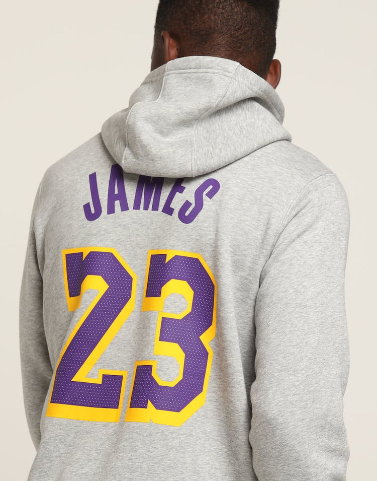a009f3f599bb Nike Los Angeles Lakers LeBron James #23 Hood Dark Grey Heather ...