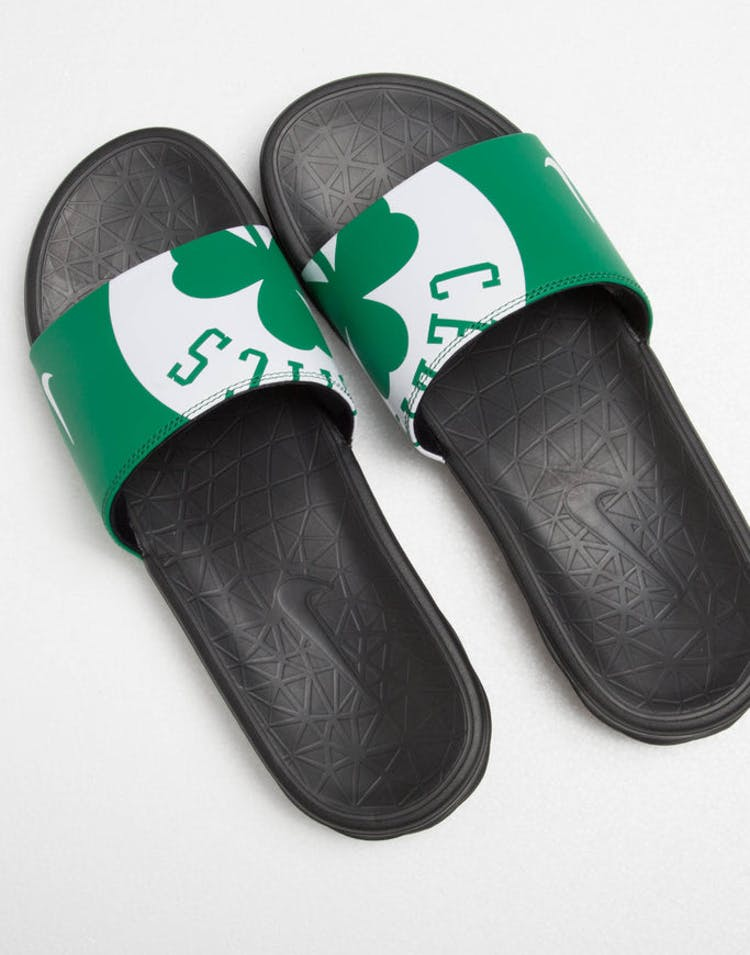 8274e61303d Nike Benassi Solarsoft NBA Slides Green White Black – Culture Kings