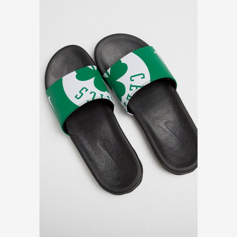 f31cc523ee46 Nike Benassi Solarsoft NBA Slides Green White Black – Culture Kings