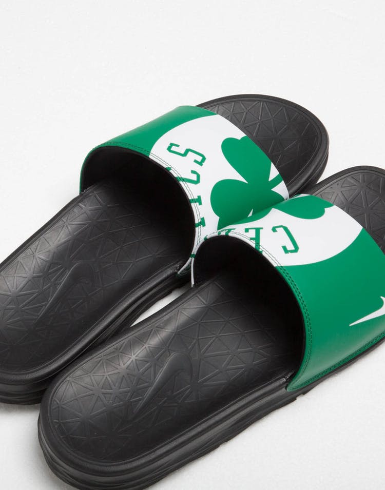cd0934d21 Nike Benassi Solarsoft NBA Slides Green White Black – Culture Kings