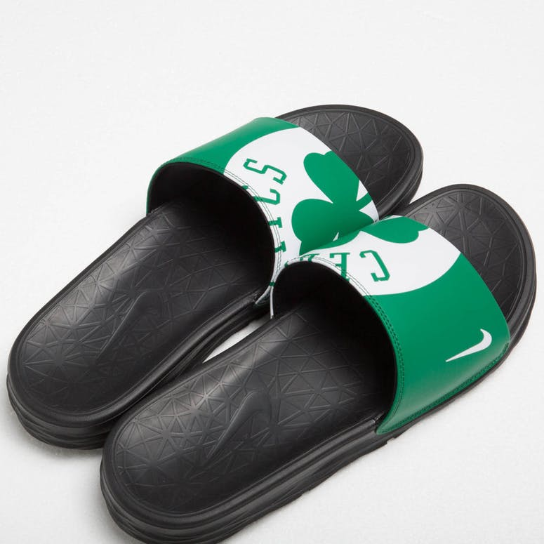 Nike Benassi Solarsoft NBA Slides Green/White/Black