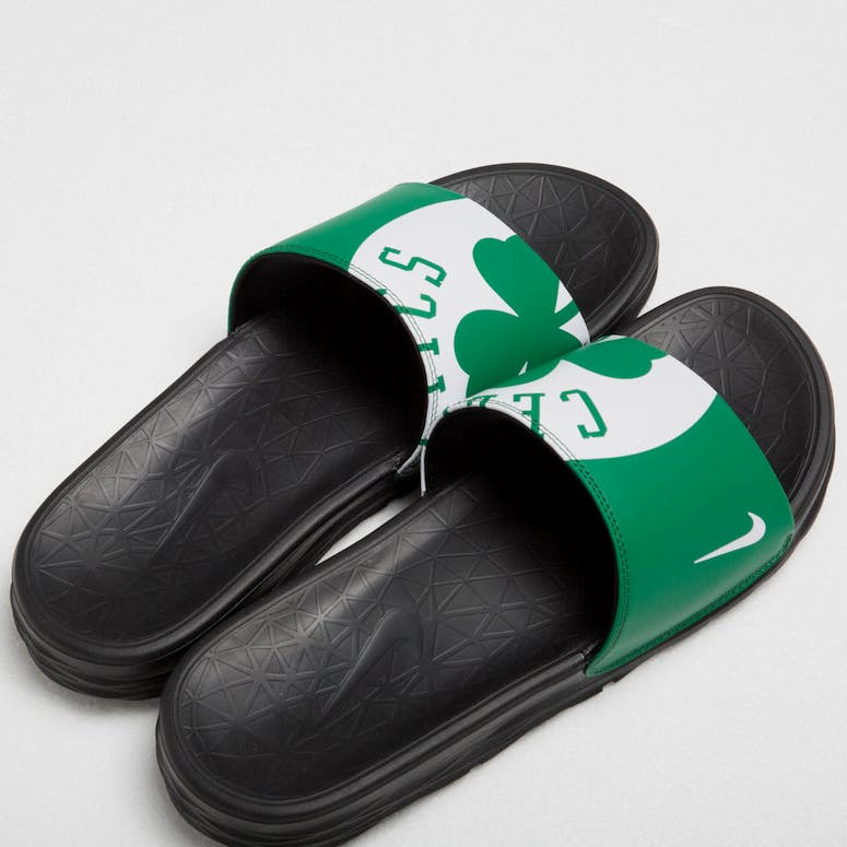 33cf6f0bfbc3 Nike Benassi Solarsoft NBA Slides Green White Black – Culture Kings