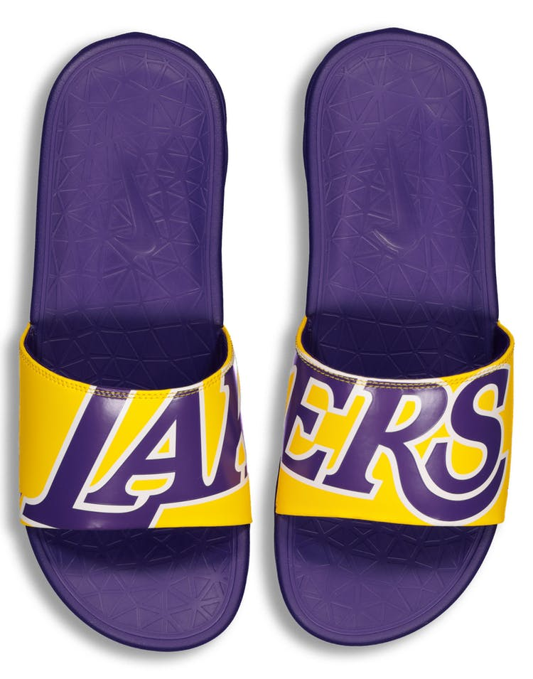 save off 911d2 5c56f Nike Benassi Solarsoft NBA Slides Purple/Yellow