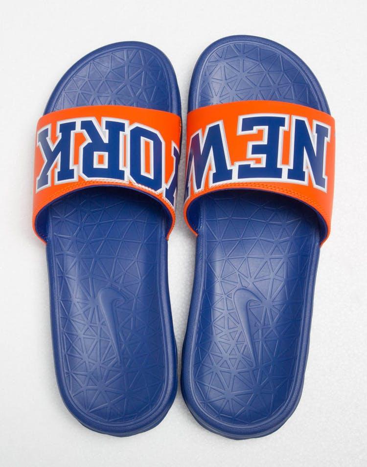 0c14219d Nike Benassi Solarsoft NBA Slides Royal/Orange