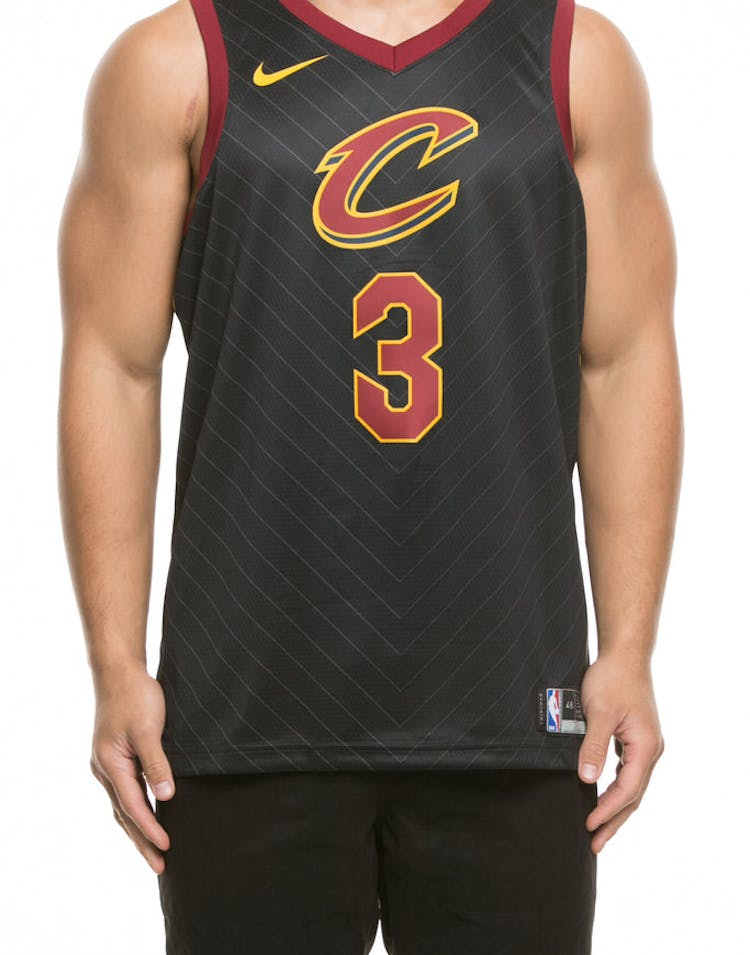 new concept 87f75 e1f9f Nike Cleveland Cavaliers #3 Isaiah Thomas Alternate Swingman Jersey  Black/Red/Gold