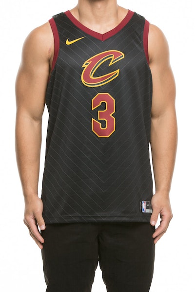 Nike Cleveland Cavaliers #3 Isaiah Thomas Alternate Swingman Jersey Black/Red/Gold