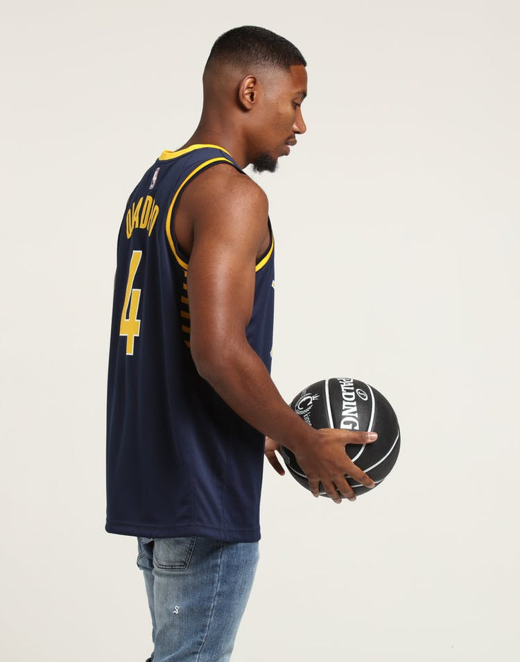 07768d697f0 NIKE Indiana Pacers Victor Oladipo  4 ICON EDITION NBA JERSEY Navy Yellow