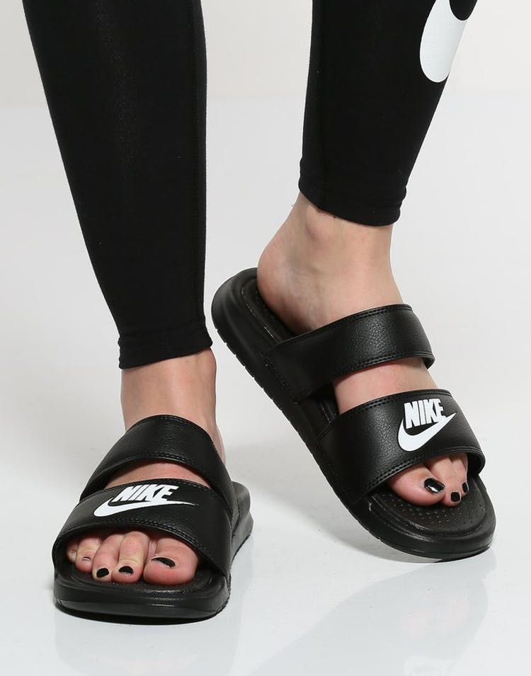 best service fed62 d2acb Nike Women s Benassi Duo Ultra Slide Black White   819717 010 – Culture  Kings