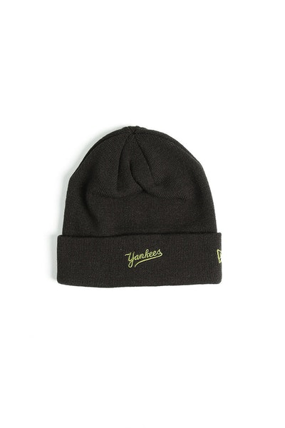 New Era Yankees Dark Knit Beanie Black